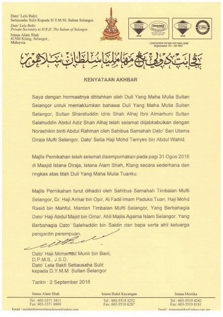 sultan selangor nikah