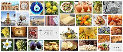 İzmir'in meşhur şeylerini gösteren resimlerden oluşan kolaj