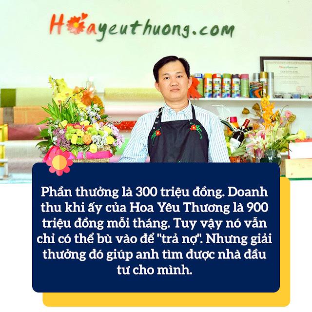 Phần thưởng 300tr từ cuộc thi khởi nghiệp giúp trang trải công ty HoaYeuThuong