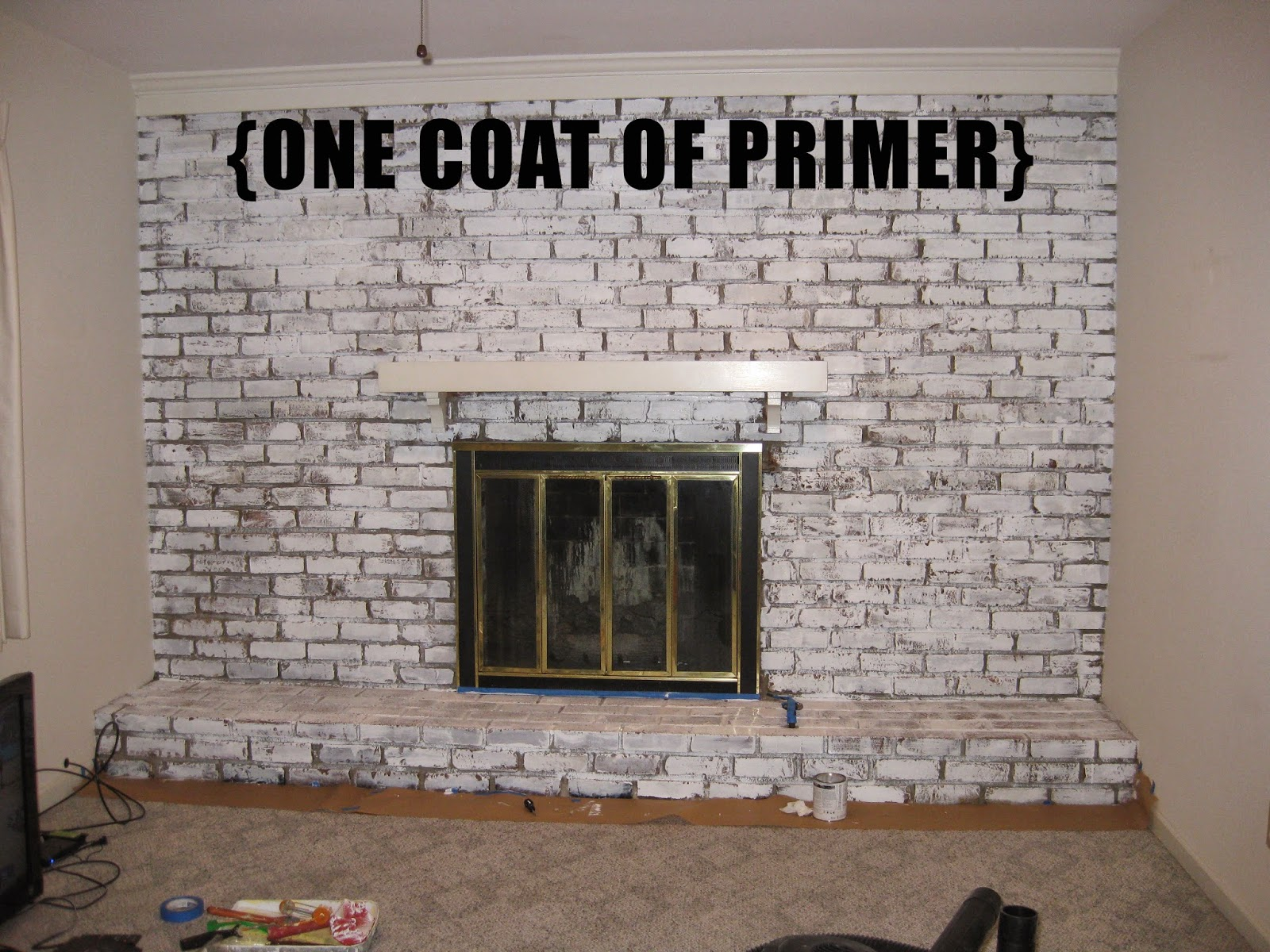 Painting Over Fireplace According To Jax Before After Painting A Brick Fireplace