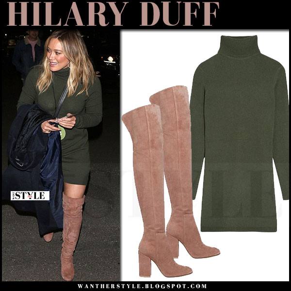 Hilary Duff in dark green turtleneck equipment oscar mini dress and suede boots gianvito rossi what she wore