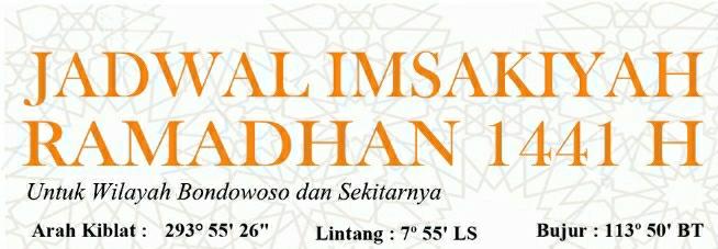Jadwal Imsakiyah Kabupaten Bondowoso 1441 Hijriyah 2020