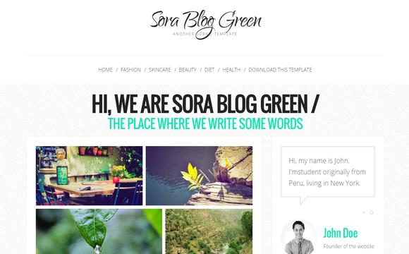 Sora Blog Green mobile friendly blogger template
