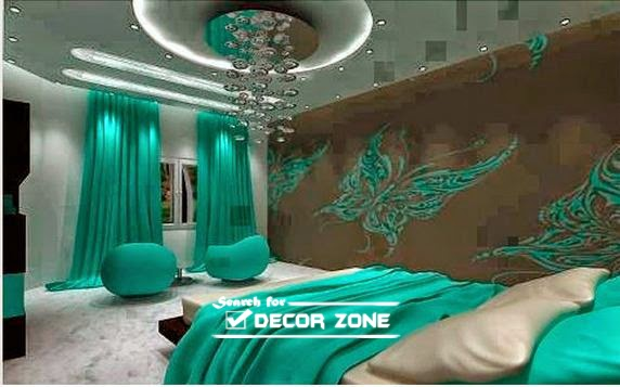 Bedroom Designs In Turquoise Brown Color Combination