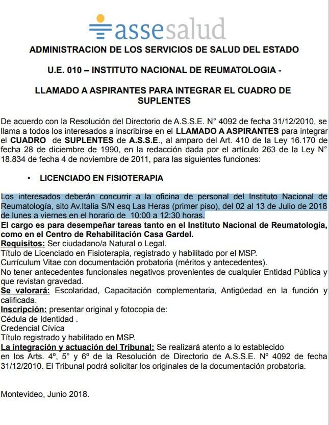 Licenciados en Fisioterpia Asse 2018