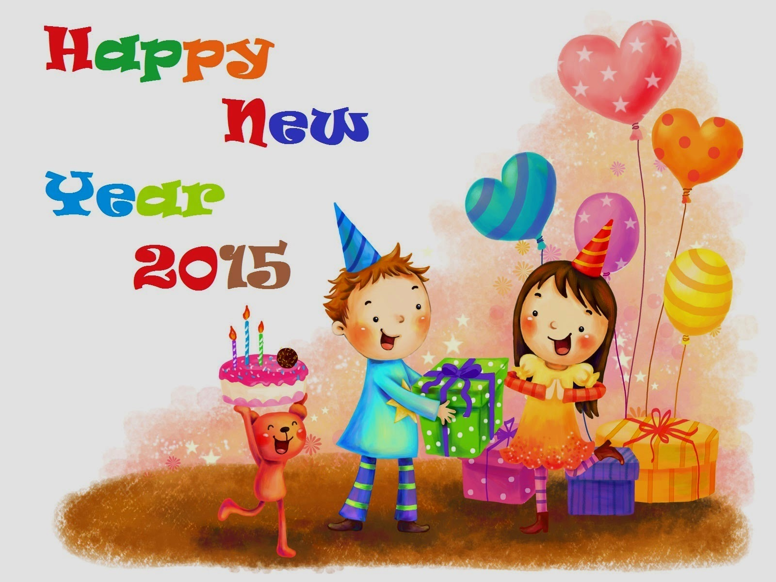 Happy New Year 2015 Kids Cartoon Wallpapers