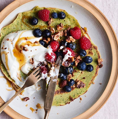 Green chickpea pancakes at Rude Health