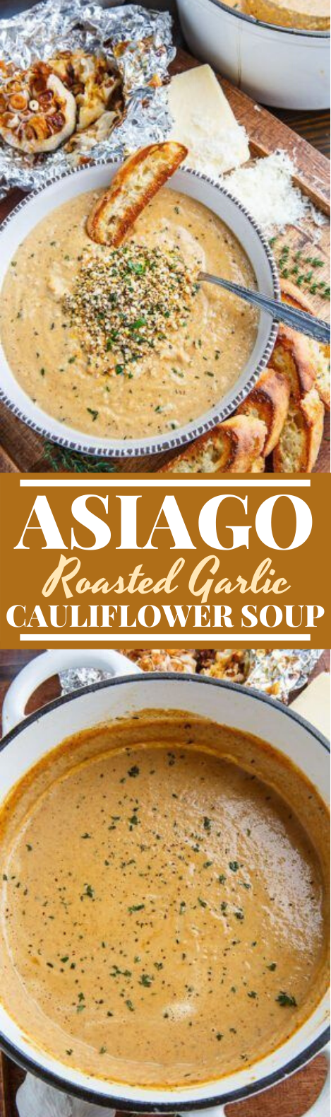 Asiago Roasted Garlic Cauliflower Soup #vegetarian #dinner #soup #meatless #cauliflower