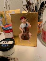 cello plaayer in eggtempera