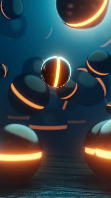 Papel de Parede Esferas 3D Neon