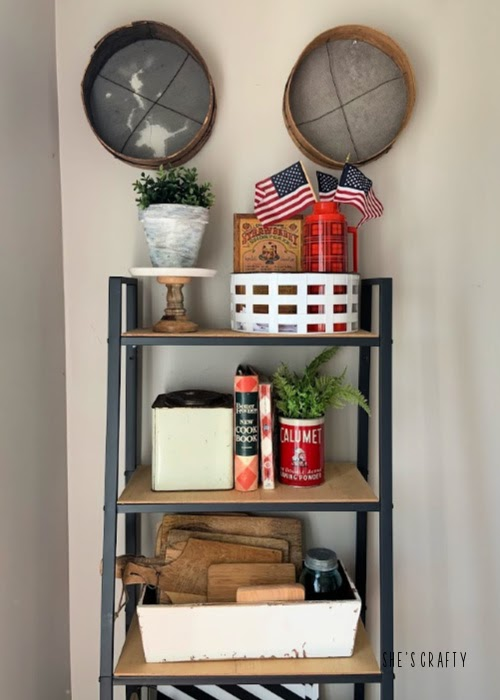 Last minute 4th of july decorating ideas - farmhouse shelving unit vignette, vintage recipe books, cutting board collection
