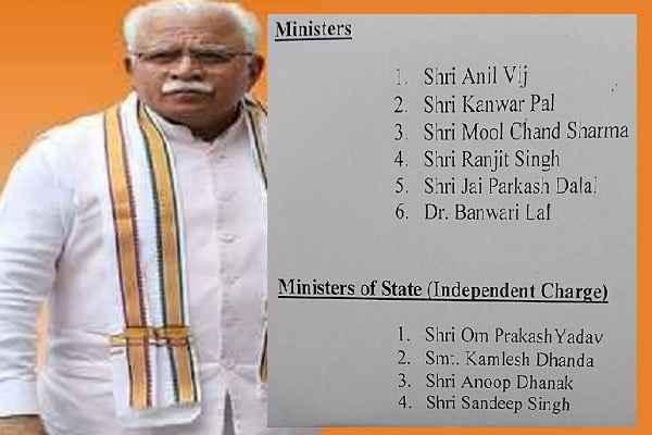 list-of-minister-in-haryana-bjp-jjp-sarkar-manohar-lal-khattar-news
