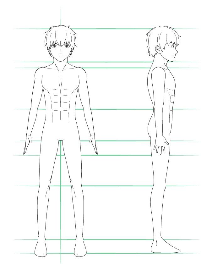 Menggambar detail tubuh cowok anime