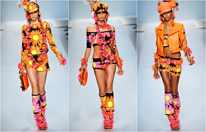Blumarine spring 2012 orange and pink bold flower prints