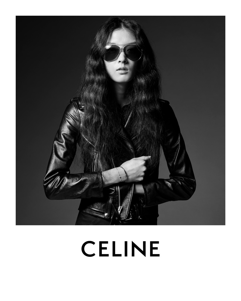 Model So Young Kang poses in leather jacket from Celine
