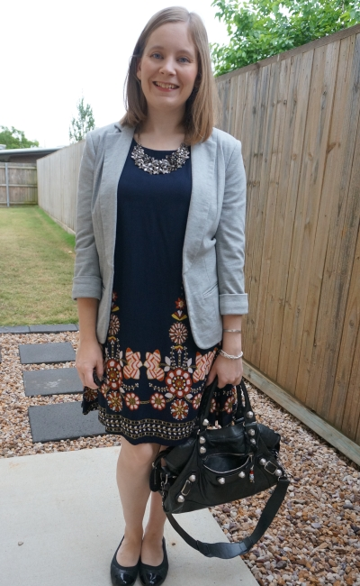grey jersey blazer with Shein navy flower print flowy swing dress  for spring office outfit Balenciaga part time | awayfromblue