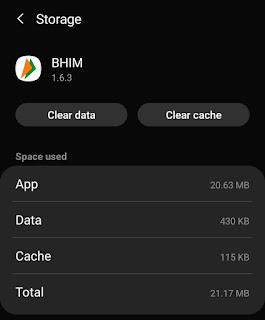 Clear BHIM app cache