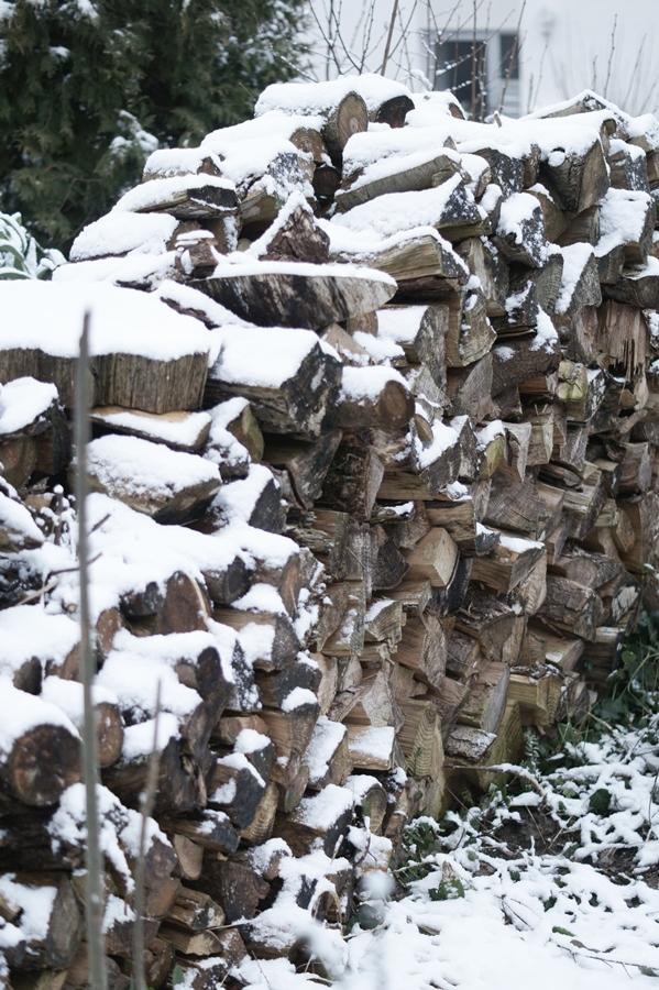 Blog + Fotografie by it's me! - Draussen - Frau Frieda sucht Schnee, verschneiter Holzstapel