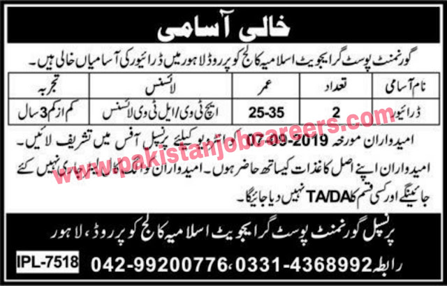 Jobs  In Govt Postgraduate Islamia College | Jobs In Lahore