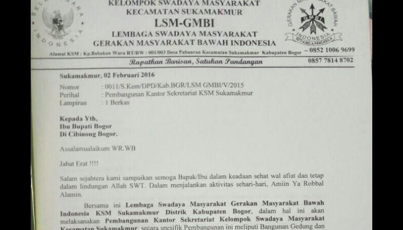 Proposal GMBI ke Bupati Bogor