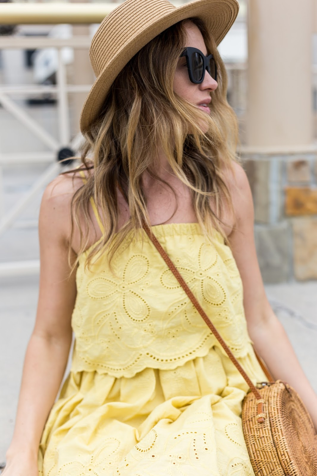 yellow eyelet dress with boater hat