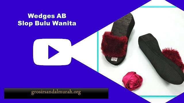 grosirsandalmurah.org - Wedges - Wedges Slop Bulu AB