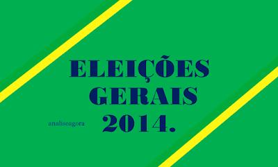 A imagem nas cores do Brasil tem no centro a seguinte frase: Eleições gerais no Brasil em 2014.