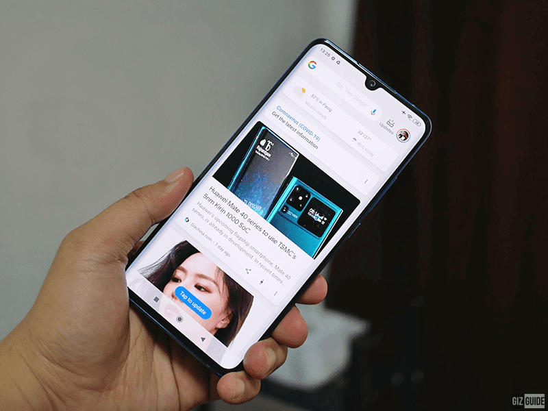 Notch display of Mi Note 10 Lite