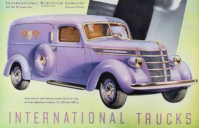 a 1930s International Trucks advertisement, a purple delivery truck