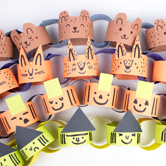 fun fall bear and fox paper chains- such an adorable paper craft to do with the kids to decorate your home or classroom