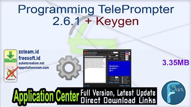 Programming TelePrompter 2.6.1 + Keygen_ ZcTeam.id