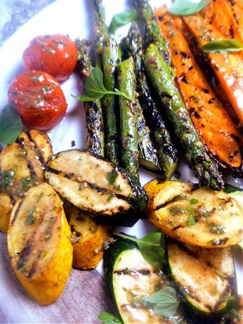 Vegetables grilled until caramelized and tender crisp and doused with the most fabulous herb vinaigrette around! - Slice of Southern