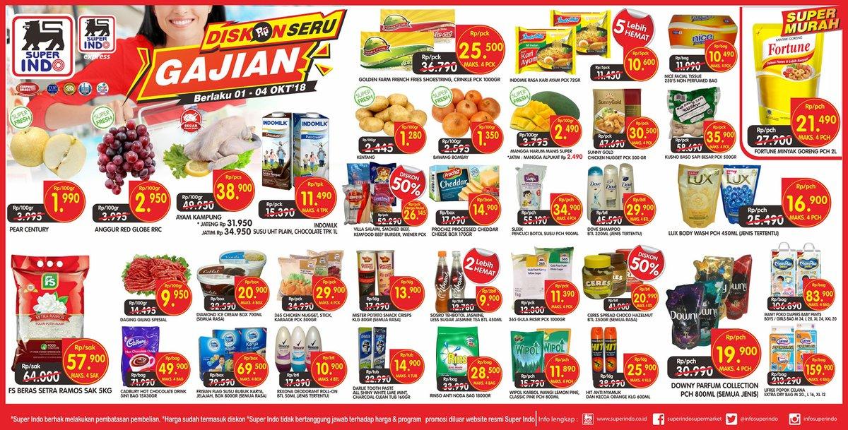 Superindo - Katalog Promo Diskon Seru GAJIAN Periode 01 - 04 Okt 2018