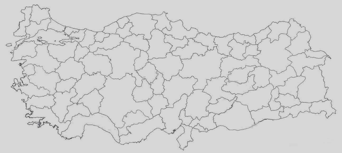 Türkiye Harita Boyaması Yazdırılabilir Boyama Sayfaları