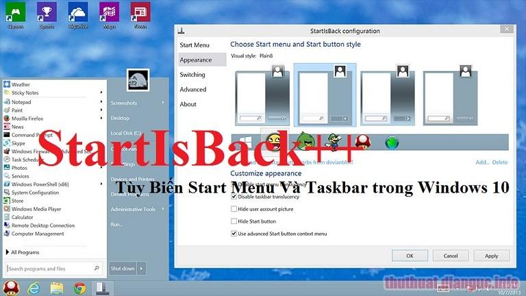 Download StartisBack++2.8.8 Full Crack, khôi phục Star Menu Windows 7 trên Windows 10, StartisBack, StartisBack free download, StartisBack full key