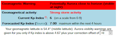 potential aurora alert notice from CalSky.com