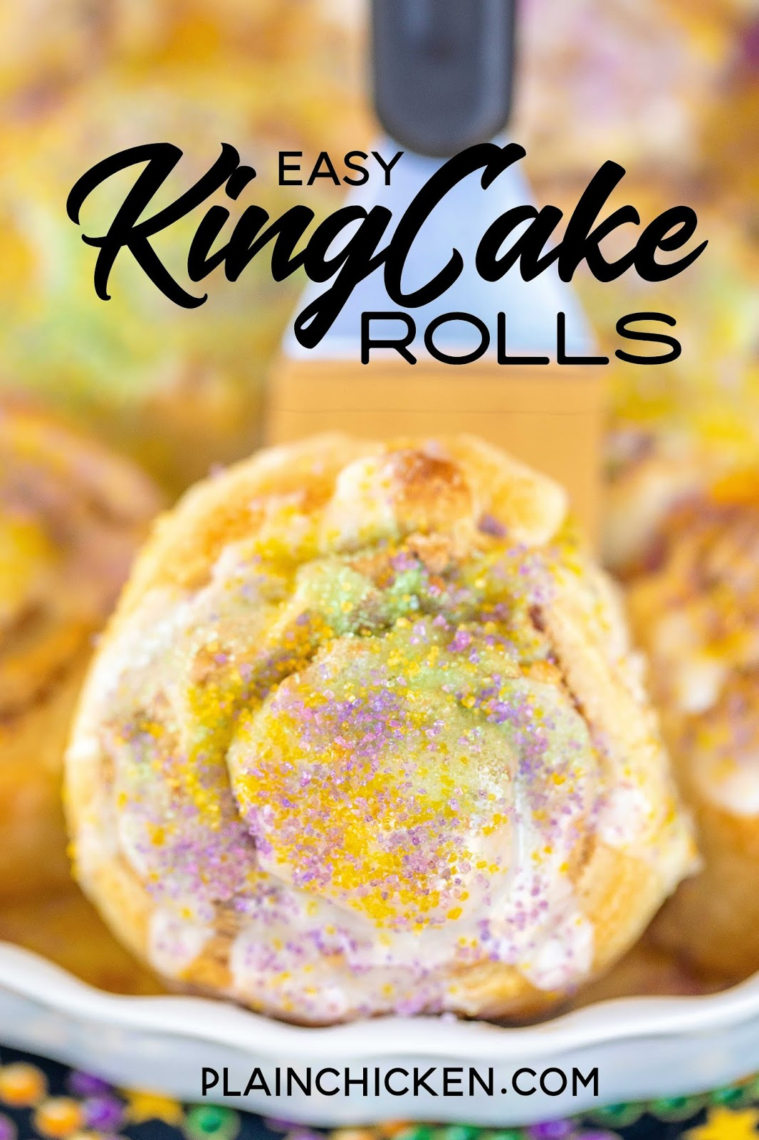 king cake roll on a spatula