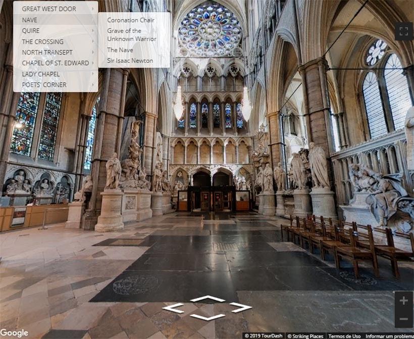 Abadia de Westminster. Foto: reprodução do tour virtual no site da Abadia