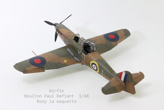 maquette du Boulton Paul Défiant d'Airfix au 1/48.