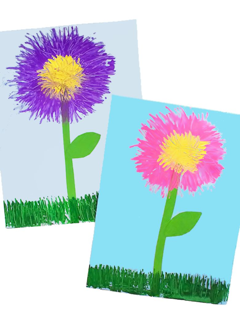 fork painted flowers painting idea for kids