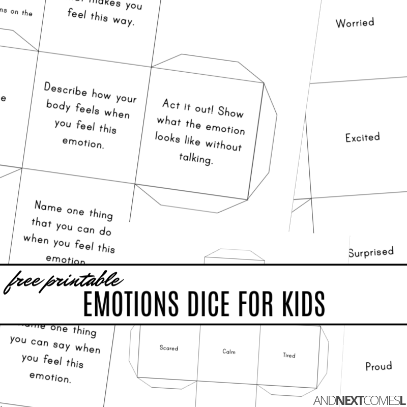 picture about Printable Dice Games identified as No cost Printable Feelings Cube Recreation And Subsequent Will come L