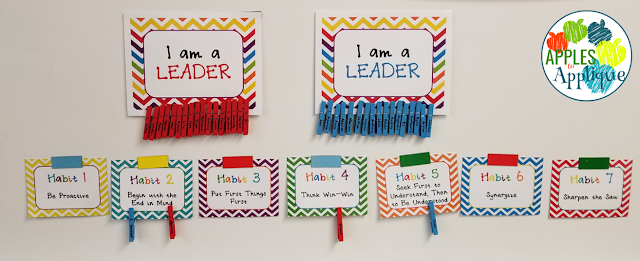 7 Habits Clip Chart for Leader in Me | Apples to Applique
