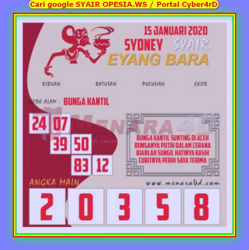 Kode syair Sydney Rabu 15 Januari 2020 115