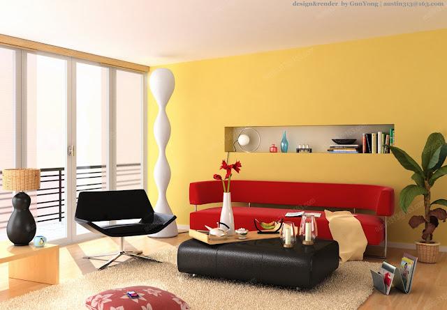 desain interior rumah tema kuning