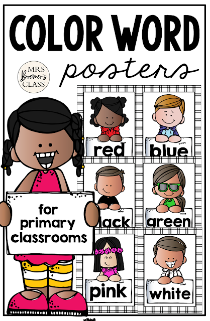 Color Posters featuring Melonheadz Kidlettes! Makes a sweet bulletin board display and a great visual reference for students who need support for colors and color words. #classroomsetup #classroom #classroomdecor #kindergarten #1stgrade