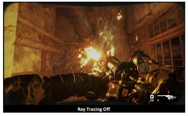 Metro Exodus game before activating the RayTracing feature