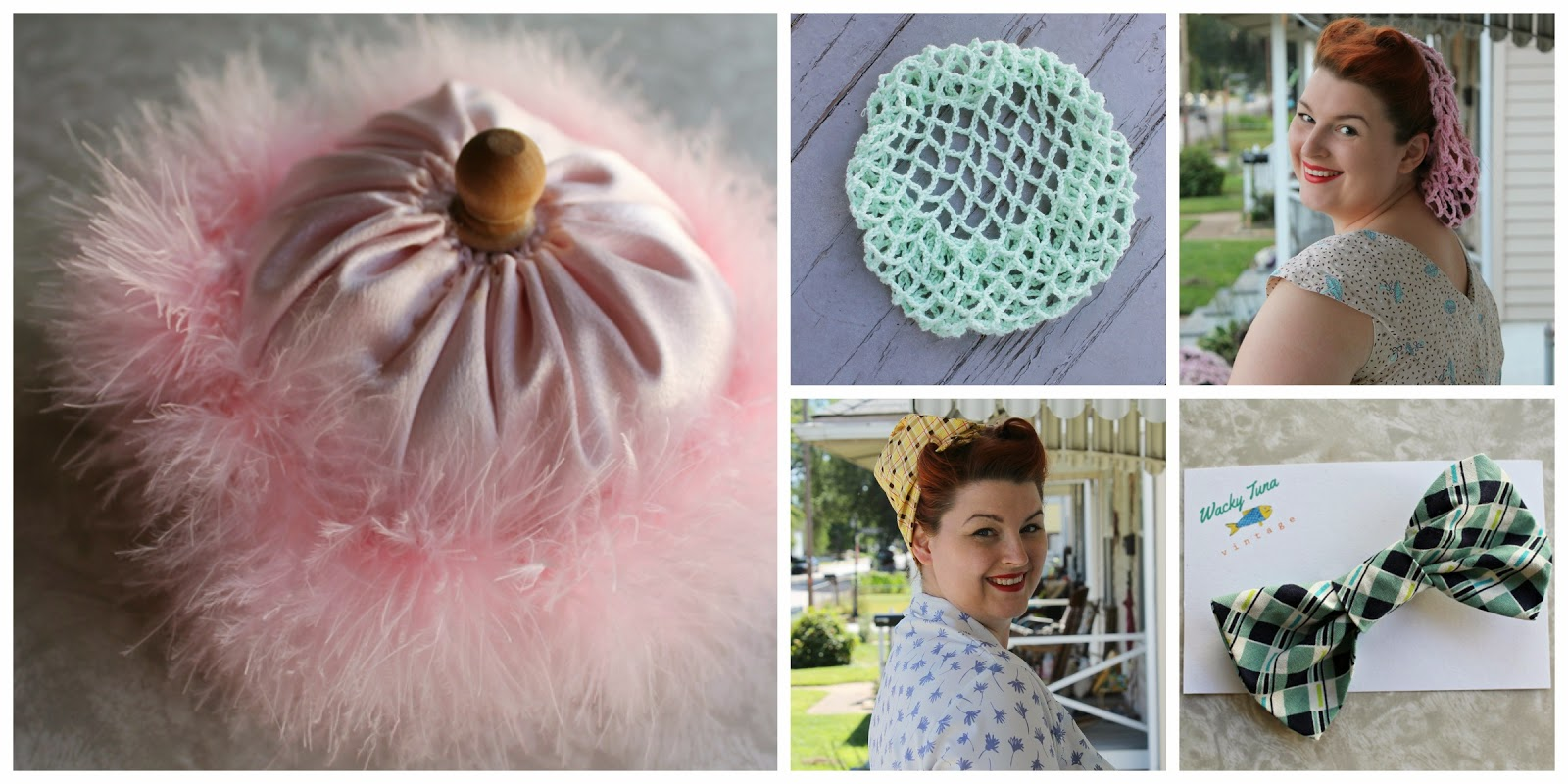 vintage powder puffs, snoods and hair bows handmade by wacky tuna vintage on etsy