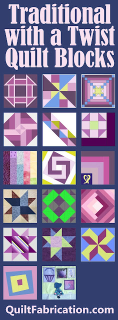 a collection of pink green and blue quilt blocks