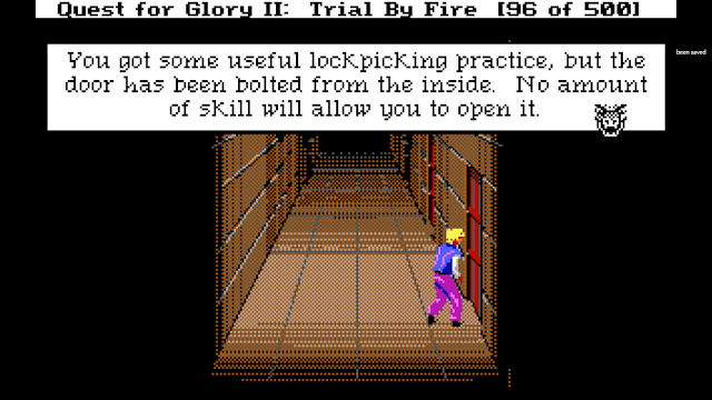 Screenshot from Quest for Glory II of a thief trying to pick locks