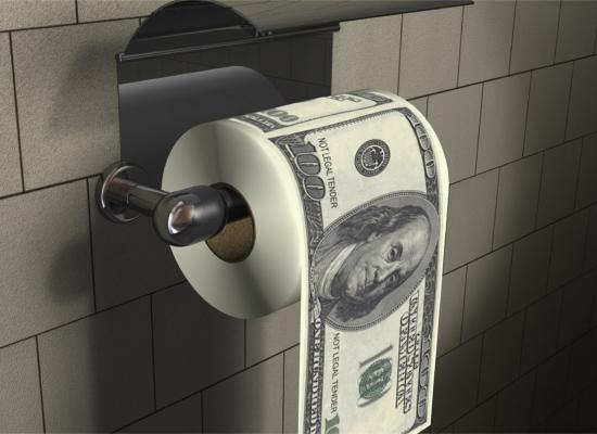 Hartie igienica cu 100 de dolari pe ea